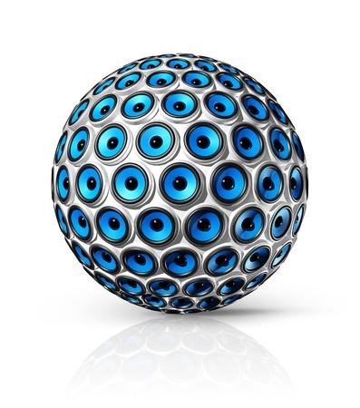 equipo de sonido: esfera de tres oradores azul dimensional aislado en blanco