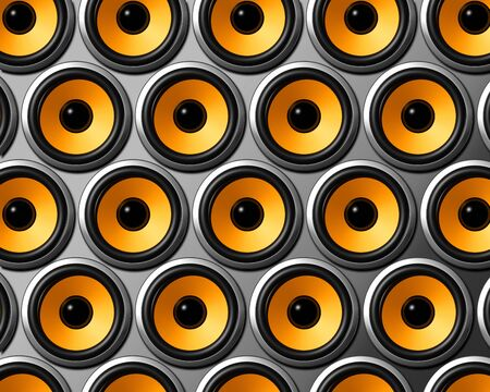 three dimensional orange speakers wall photo