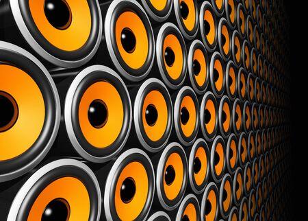 sono: mur de trois orateurs orange dimensionnelle Banque d'images