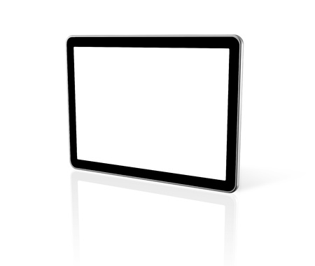 3D computer, digital Tablet pc,  tv screen, isolated on white photo