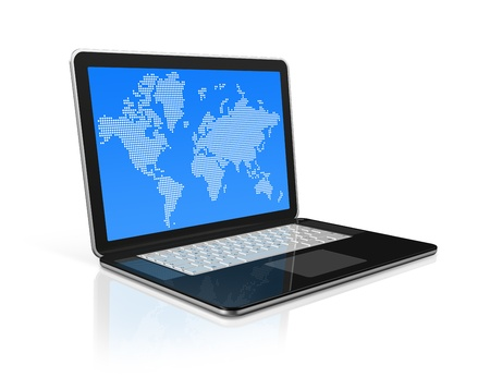 worldmap: 3D laptop computer with worldmap on screen. isolated on white with 2 clipping path (screen and global scene)