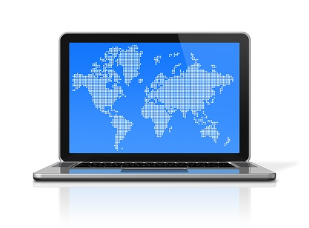 3D laptop computer with worldmap on screen. isolated on white with 2 clipping path (screen and global scene)