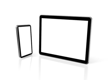 3D mobile phone and digital tablet pc computer isolated on white photo