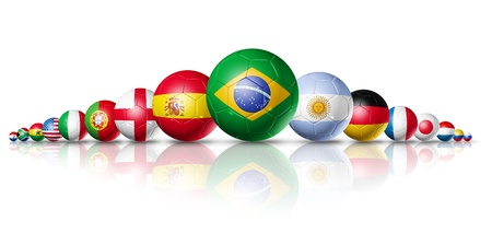 Soccer football balls group with teams flags  brazil soccer world cup 2014 symbol. isolated on white