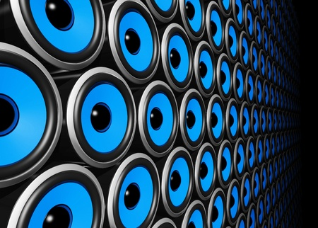 audio speaker: three dimensional blue speakers wall Stock Photo