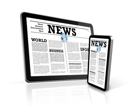 electronic organiser: news on 3D mobile phone and digital tablet pc computer isolated on white Stock Photo