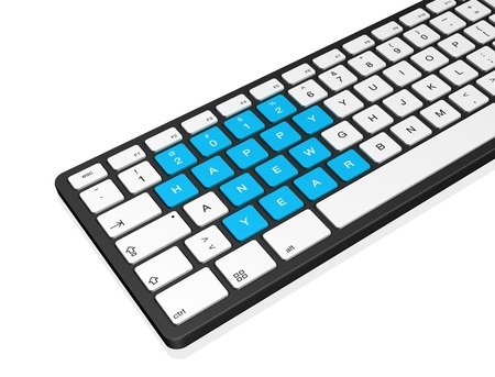 New year 2012 message on a computer keyboard, 3d illustration isolated on white illustration