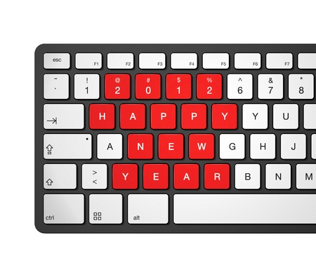 New year 2012 message on a computer keyboard, 3d illustration isolated on white