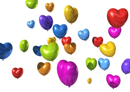 colored heart shaped balloons isolated on white. valentine