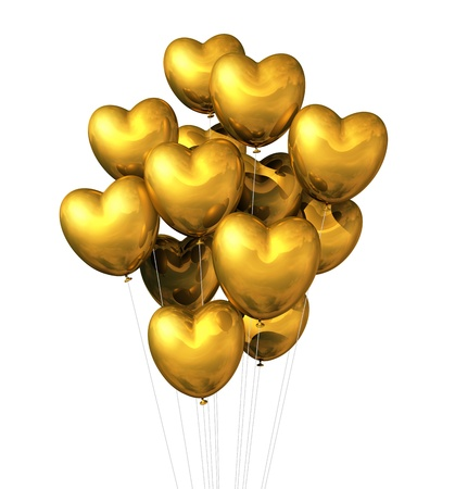 gold string: gold heart shaped balloons isolated on white. valentine