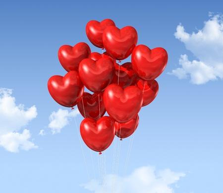 palloncino cuore: palloncini a forma di cuore rosso galleggiante nel cielo. san valentino