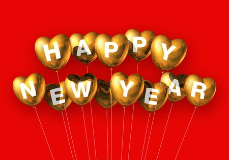 gold Happy new year heart shaped balloons isolated on red photo