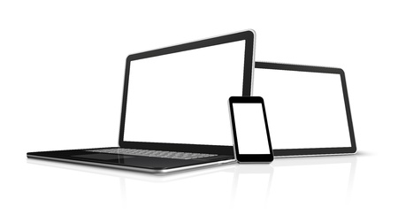 computer monitors: 3D laptop, mobile phone and digital tablet pc computer - isolated on white with clipping path Stock Photo