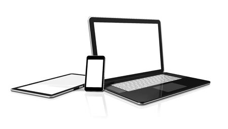 3D laptop, mobile phone and digital tablet pc computer - isolated on white with clipping path Stock Photo - 11213066
