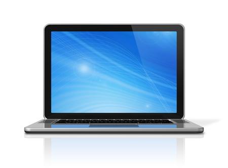 3D-laptop computer geà ¯ soleerd op wit met 2 knippen weg: een voor mondiale toneel en een voor het scherm