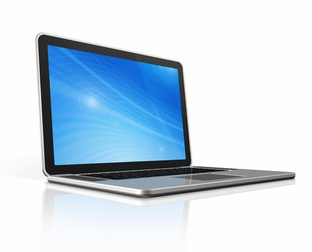 3D laptop computer isolated on white with 2 clipping path : one for global scene and one for the screen Stock Photo - 11213071