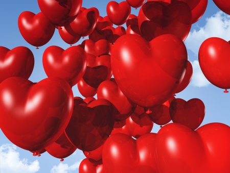 helium balloon: red heart shaped balloons floating in the sky - red heart shaped balloons floating in the sky. valentine Stock Photo