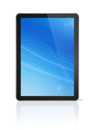 3D digital tablet pc, computer screen isolated on white. With 2 clipping paths : global scene clipping path and screen clipping path Stock Photo - 11213139