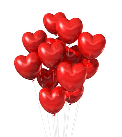 three dimensional background: red heart shaped balloons isolated on white. valentine Stock Photo