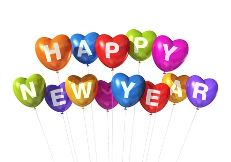 heart shaped: colored Happy new year heart shaped balloons isolated on white