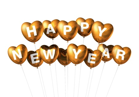 gold Happy new year heart shaped balloons isolated on white photo