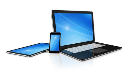 3D laptop, mobile phone and digital tablet pc computer - isolated on white with clipping path Stock fotó