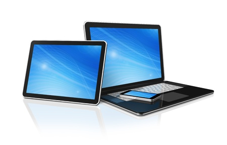 3D laptop, mobile phone and digital tablet pc computer - isolated on white with clipping path photo