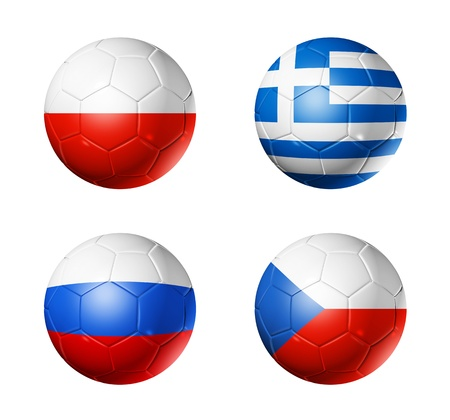 3D soccer balls with group A teams flags. UEFA euro football cup 2012. isolated on white