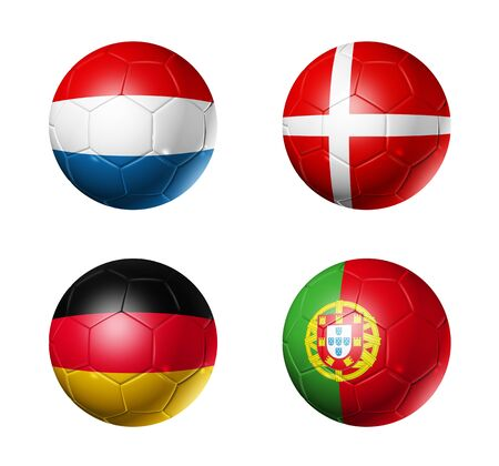 3D soccer balls with group B teams flags. UEFA euro football cup 2012. isolated on white photo