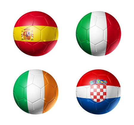 3D soccer balls with group C teams flags. UEFA euro football cup 2012. isolated on white