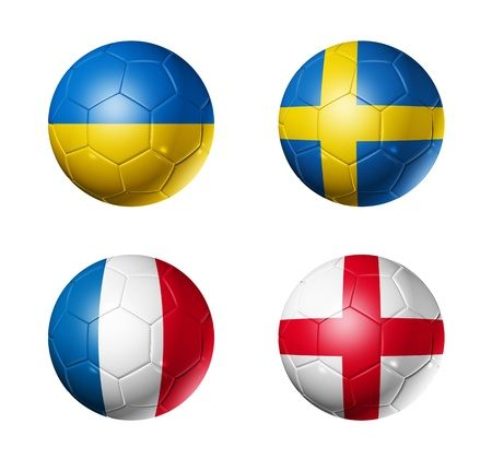 3D soccer balls with group D teams flags. UEFA euro football cup 2012. isolated on white photo
