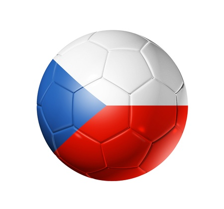 czechoslovakia: 3D soccer ball with Czechoslovakia  Czech Republic team flag, world football cup 2010. isolated on white  Stock Photo