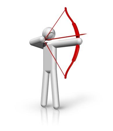 archer of bow: three dimensional archery symbol