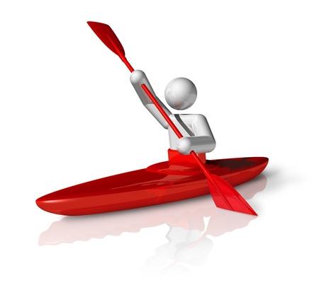 canoe paddle: three dimensional canoe slalom symbol
