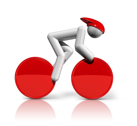 cycling helmet: three dimensional cycling track symbol