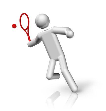 racket sport: s�mbolo de los tres dimensiones de tenis