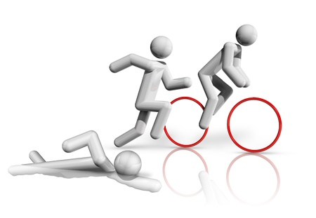 three dimensional: three dimensional triathlon symbol, sports competition sports series Stock Photo