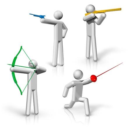 sport symbolen iconen serie 1 op 9, schieten, boogschieten, schermen Stockfoto