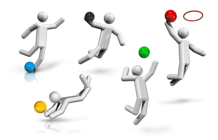 world sport event: sports symbols icons series 2 on 9, football, soccer, handball, basketball, volleyball, beach volleyball