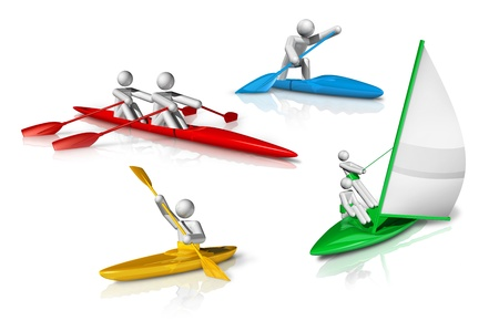 3d sail boat: sports symbols icons series 3 on 9, canoe, kayak, rowing, sailing