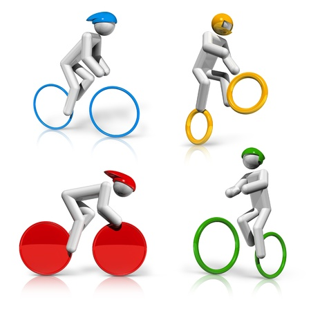 cycling: sports symbols icons series 5 on 9, cycling, BMX, mountain bike, road, track