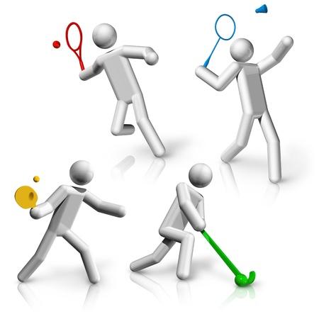 world sport event: sports symbols icons series 9 on 9, tennis, badminton, table tennis, hockey