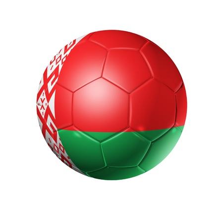 belarus: 3D soccer ball with Belarus team flag isolated on white