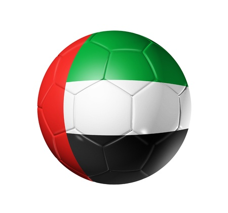 Soccer football ball with United Arab Emirates flag - 3D soccer ball with United Arab Emirates team flag isolated on white photo