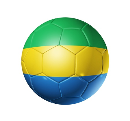 eastern europe: 3D soccer ball with Gabon team flag isolated on white