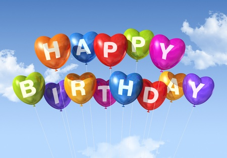 three dimensional background: colored Happy Birthday heart shape balloons floating in the sky