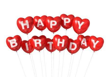 3D red Happy Birthday heart shape  balloons isolated on white background Stock fotó