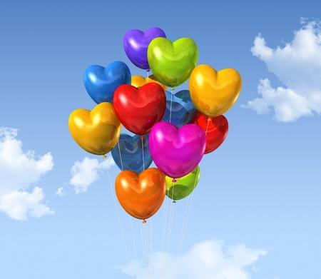 corazones azules: globos de colores la forma del coraz�n flotando en un cielo azul
