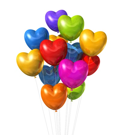 3D colored heart shape balloons isolated on white Stock Photo - 13428210