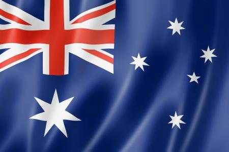 Australië vlag, driedimensionale render, satijnen structuur
